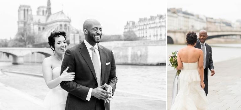 Wedding first look Seine riverside