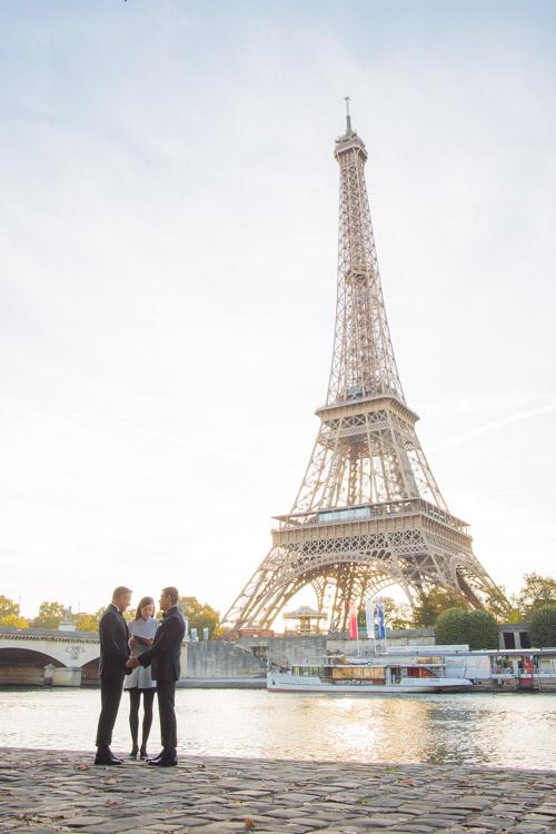 Gay Paris wedding Eiffel Tower sunrise ceremony
