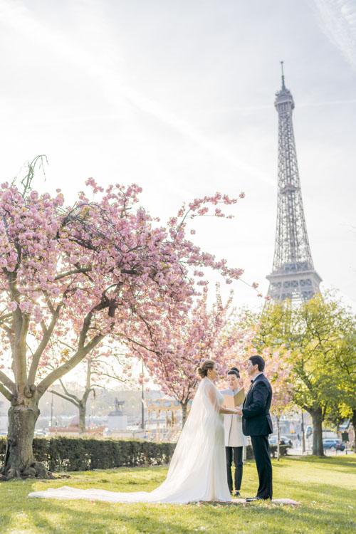 cherry blossom wedding Paris eiffel tower