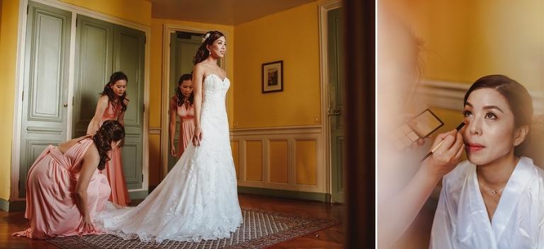 Wedding ceremony in France bride getting ready