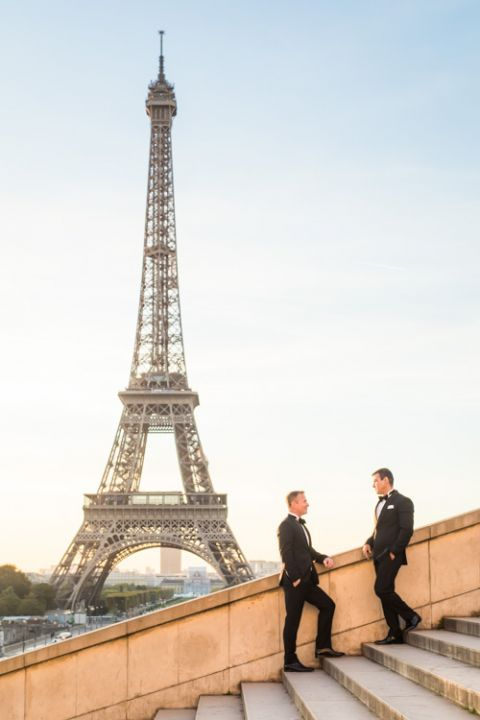 Eiffel Tower Gay elopement Paris trocadero