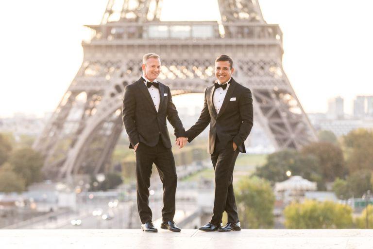 lgbtq paris elopement eiffel tower trocadero
