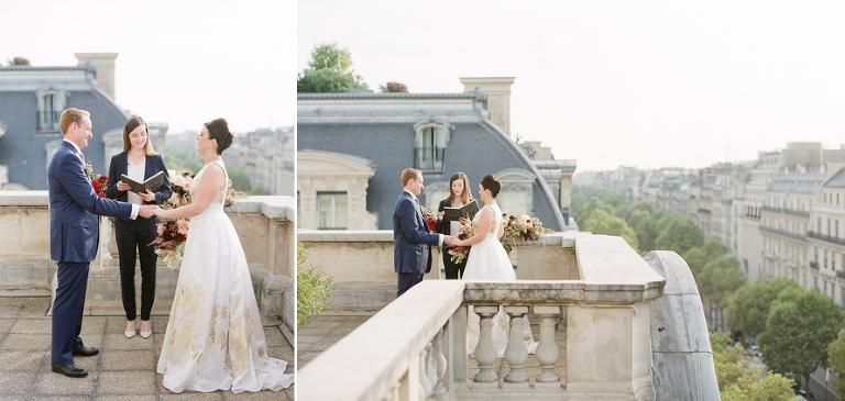 vintage elopement in Paris wedding ceremony