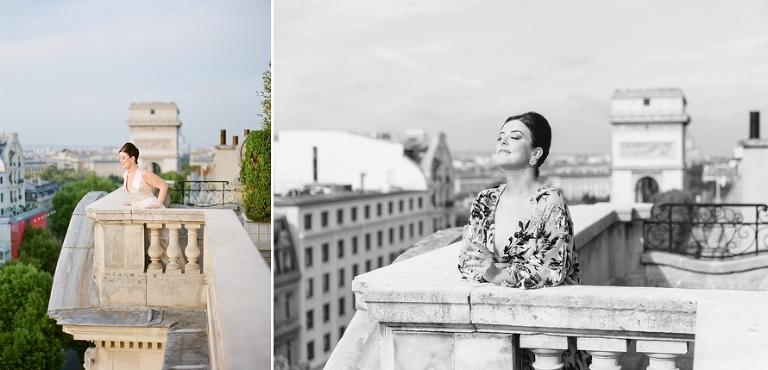 vintage elopement in Paris rooftop view