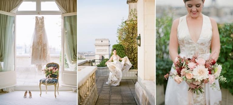 vintage elopement in Paris bridal gown