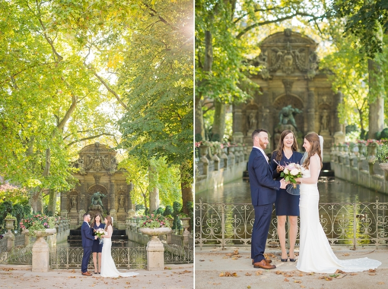elopement ceremony in Paris Luxembourg Gardens