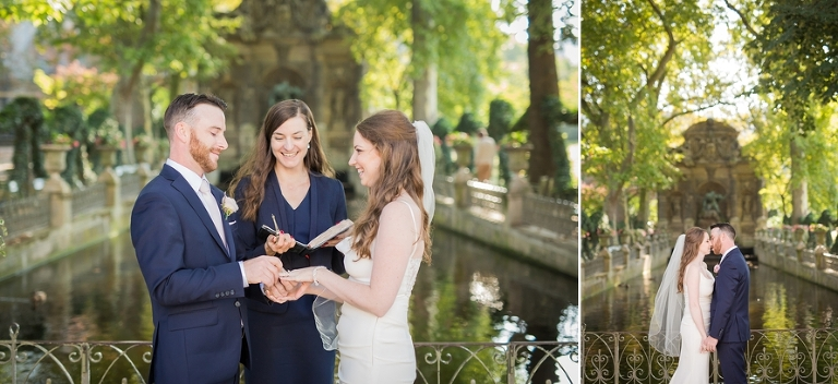elopement ceremony in Paris ring exchange