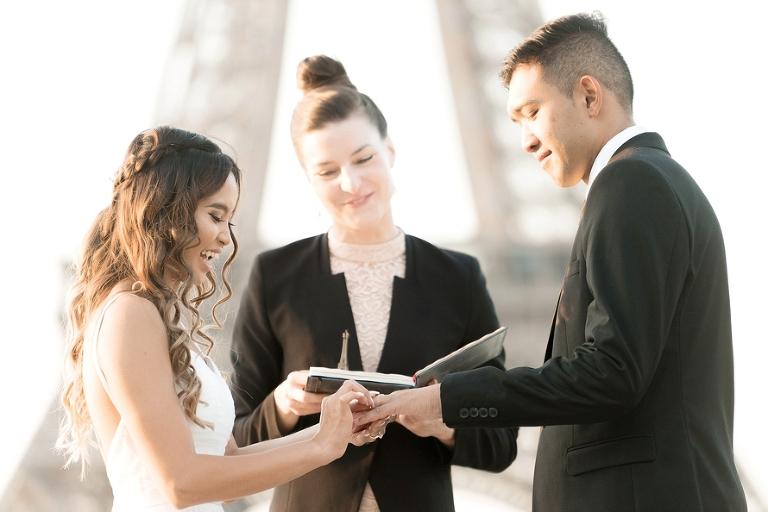 Eiffel Tower wedding ring exchange