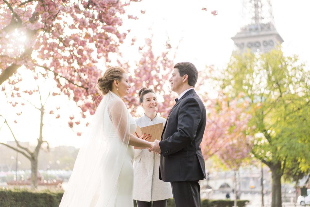 Paris cherry blossom wedding elopement ceremony