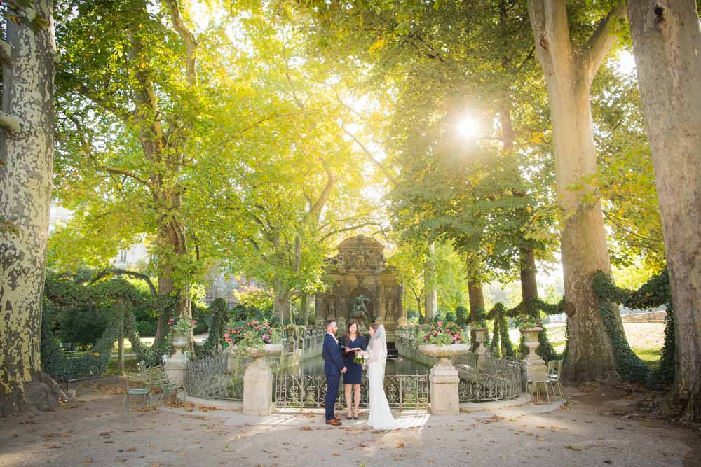 medici fountain sunrise wedding ceremony Paris