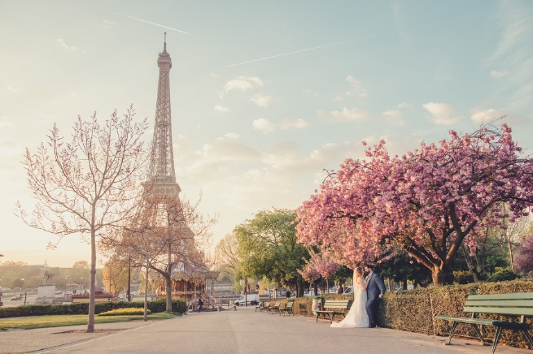 cherry blossom wedding in Paris