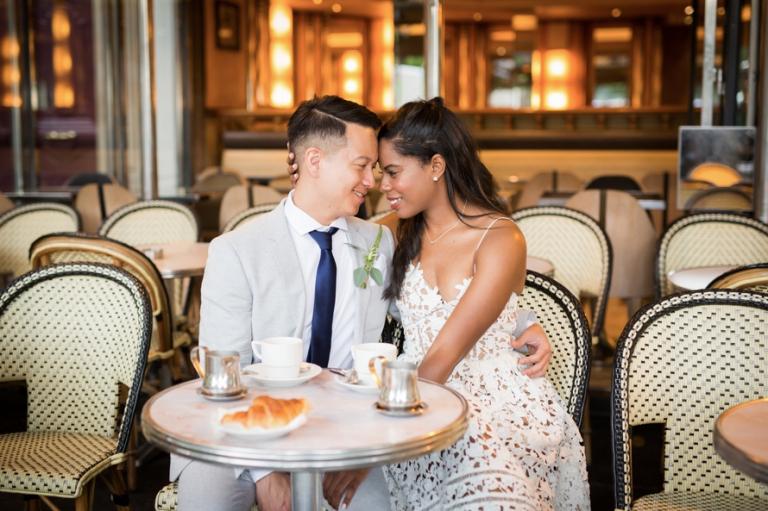 Parisian cafe elopement