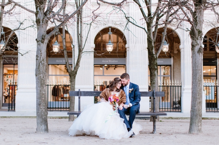 winter elopement Paris Palais Royal