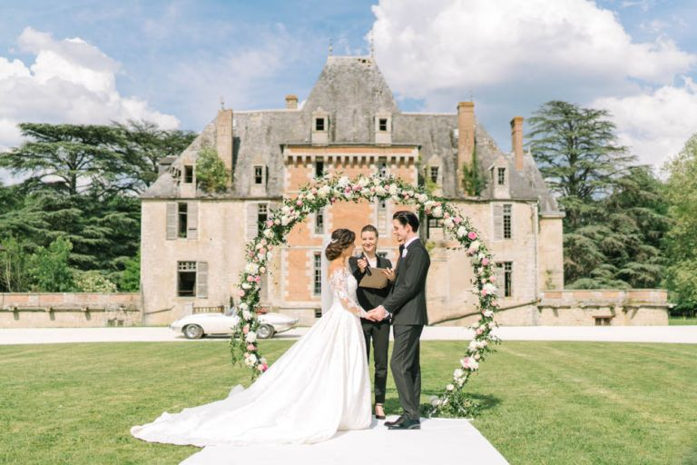 Intimate marriage ceremony in a French chateau