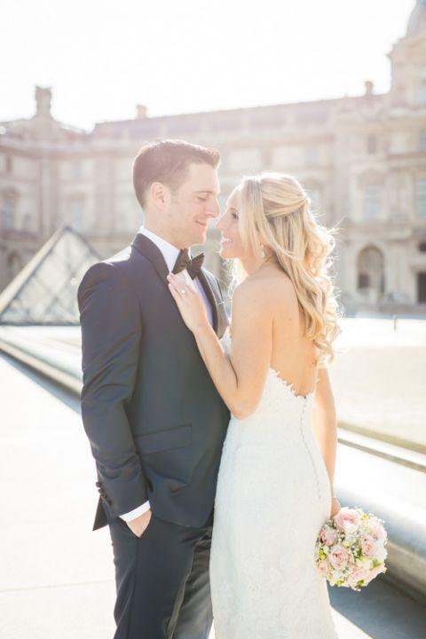 bride groom Paris Louvre