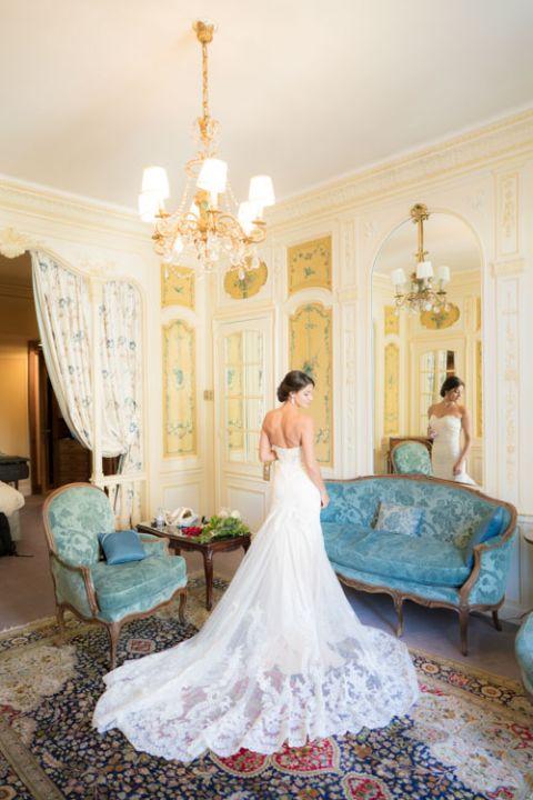 Paris elopement bride wedding dress long train