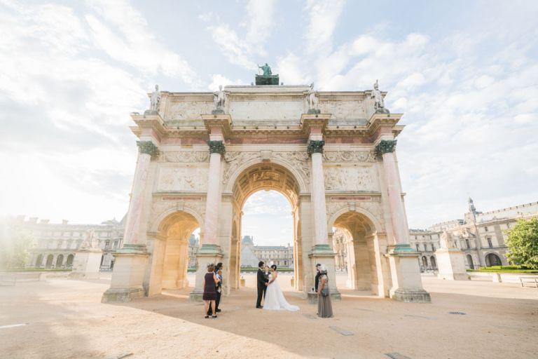eloping in Paris sunrise ceremony