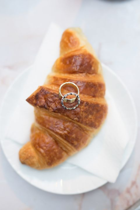 Paris destination wedding rings croissant