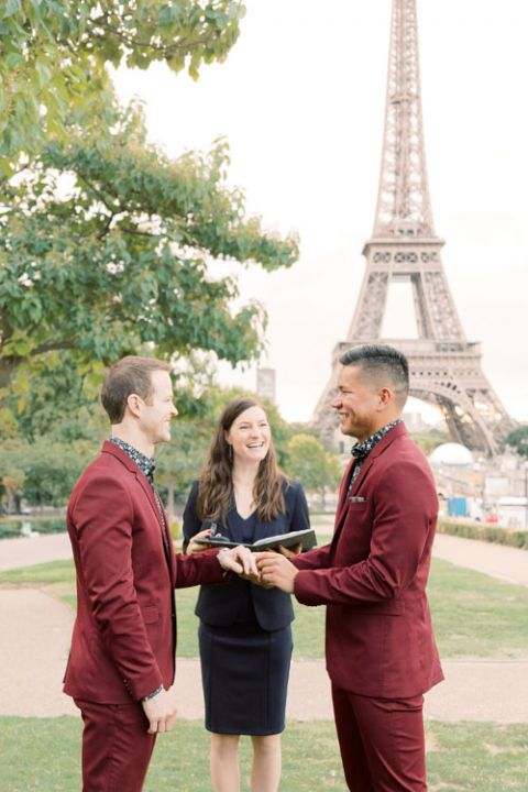 English speaking celebrant ceremony gay wedding Eiffel Tower