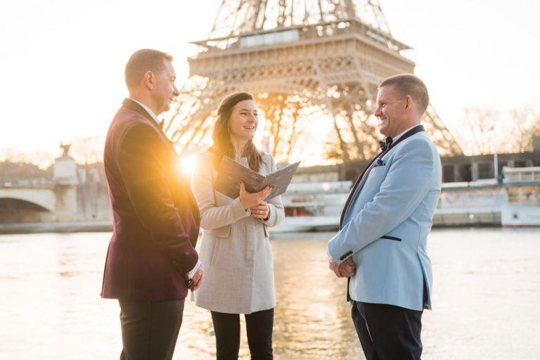gay wedding Paris eiffel tower sunrise ceremony